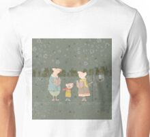 Cute Christmas Mice Family Winter Scene Unisex T-Shirt