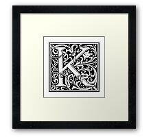 William Morris, Ornate, K, Kay, Alphabet, Letter, Kilo, King, Kai, A to Z, 11th Letter of Alphabet, Initial, Name, Letters, Tag, Nick Name Framed Print