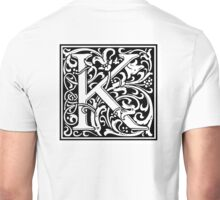 William Morris, Ornate, K, Kay, Alphabet, Letter, Kilo, King, Kai, A to Z, 11th Letter of Alphabet, Initial, Name, Letters, Tag, Nick Name Unisex T-Shirt