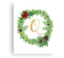 Christmas Monogram Q Canvas Print