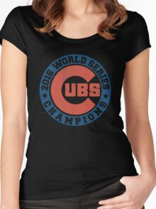 CUBS 2016 WORLD SERIES CHAMPIONS VINTAGE DISTRESSED Women's Fitted Scoop T-Shirt