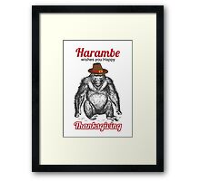 Harambe - Happy Thanksgiving Framed Print