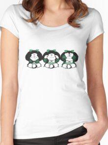 Mafalda three wise monkeys Women's Fitted Scoop T-Shirt