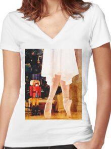 Clara and the Nutcracker Women's Fitted V-Neck T-Shirt