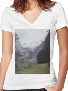 Mystery Mountains Women's Fitted V-Neck T-Shirt