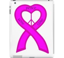 Peace Love Cure Breast Cancer Pink Ribbon iPad Case/Skin
