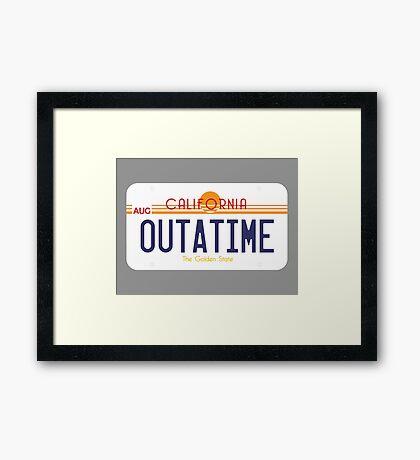 Outatime License Plate Framed Print