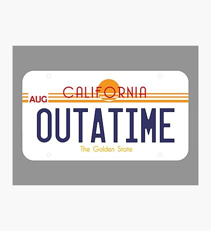 Outatime License Plate Photographic Print