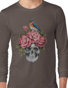 Skull and Roses with Bird Long Sleeve T-Shirt