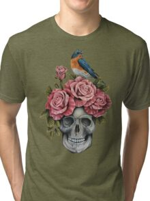 Skull and Roses with Bird Tri-blend T-Shirt
