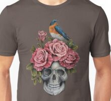 Skull and Roses with Bird Unisex T-Shirt