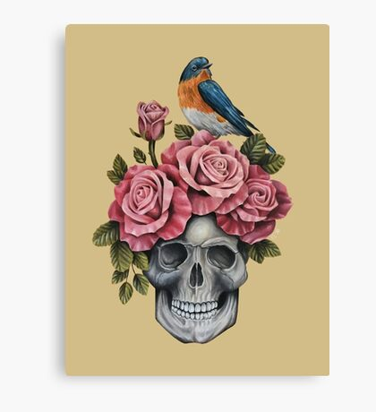 Skull and Roses with Bird Canvas Print