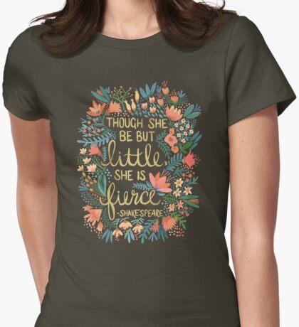 Little & Fierce on Kraft Womens Fitted T-Shirt