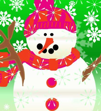 Happy Christmas Holiday Snowman Sticker