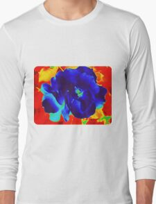 Cool Rose in Fire Long Sleeve T-Shirt