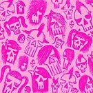 Pink Skull Sketches by Roseanne Jones