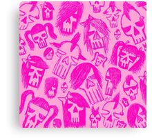 Pink Skull Sketches Canvas Print