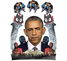 mc obama [featuring dr phil, lil b, and mathew knowles in a cloud] Photographic Print