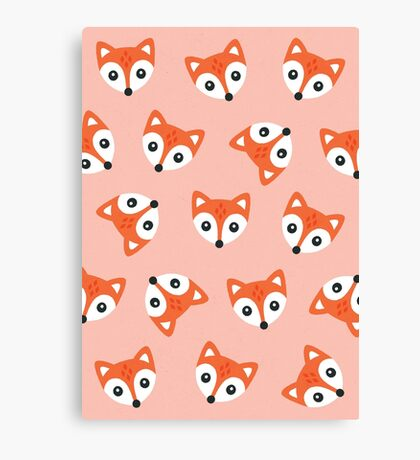 Little Red Foxes - blush Canvas Print