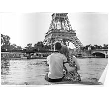 staring at eiffel tower Poster