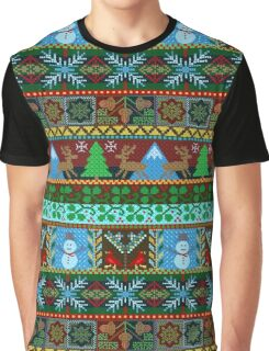Knitted Christmas Sweater Reindeer Snowmen Holiday Pattern Graphic T-Shirt