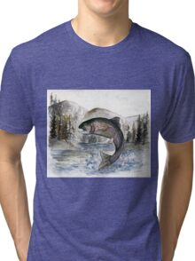Jumping Rainbow Trout - Watercolor Painting Tri-blend T-Shirt
