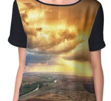 Rolling Rain of Summer Sunset Chiffon Top