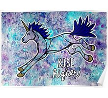 Rise Higher. Original Unicorn Watercolor Illustration. Poster
