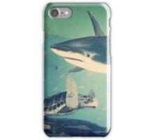 Beautiful Ocean Underwater Scene With Sharks And Sea Turtle  iPhone Case/Skin
