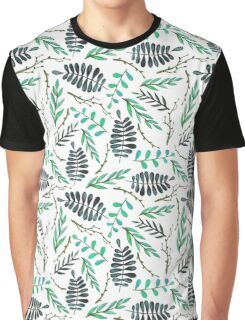 Watercolor Deep Blue Leaves and Tree Branches Graphic T-Shirt