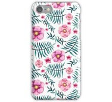 Watercolor Bright Green Ferns, Herbs and Garden Pink Flowers iPhone Case/Skin