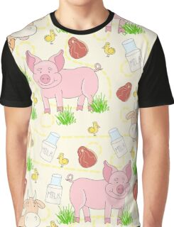 Print for meat eaters. Cartoon farm animal. Pig, cow and chicken. Graphic T-Shirt