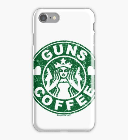 I Love Guns and Coffee! Not the Starbucks logo. iPhone Case/Skin