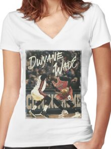 Dwyane Wade Miami to Chicago Basketball Artwork Women's Fitted V-Neck T-Shirt