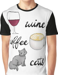 Wine Coffee Cats Graphic T-Shirt