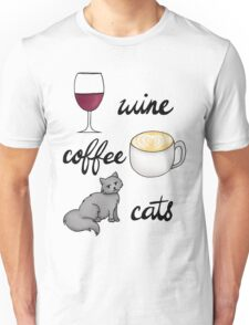 Wine Coffee Cats Unisex T-Shirt