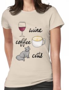 Wine Coffee Cats Womens Fitted T-Shirt