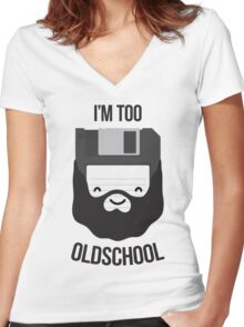 Floppy diskette is too old school Women's Fitted V-Neck T-Shirt