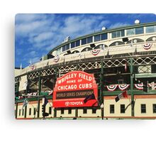 Wrigley Field With World Series Champions Marquee Canvas Print