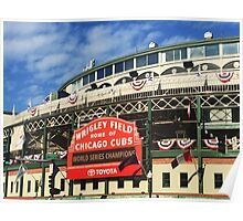 Wrigley Field With World Series Champions Marquee Poster