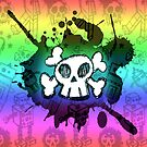 Rainbow Cartoon Skull by Roseanne Jones