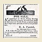 R. A. Parrish Planemaker 1818 Advertisement by toolemera
