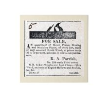 R. A. Parrish Planemaker 1818 Advertisement Gallery Board