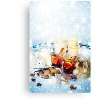 Christmas Decorations with Mulled Wine and Snow Canvas Print