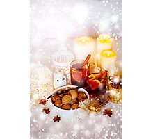 Christmas Decorations with Mulled Wine and Snow Photographic Print