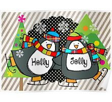 Holly Jolly Christmas Holiday Penguins on Skates Poster