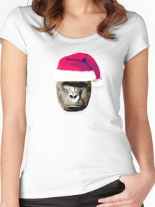 harambe christmas hat shirt Women's Fitted Scoop T-Shirt