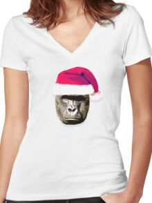 harambe christmas hat shirt Women's Fitted V-Neck T-Shirt