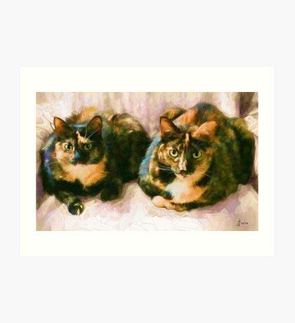 """Friend's Cats""  - Off White Background Art Print"