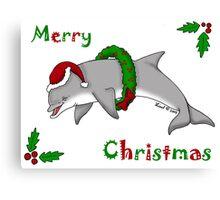 Christmas Dolphin Canvas Print